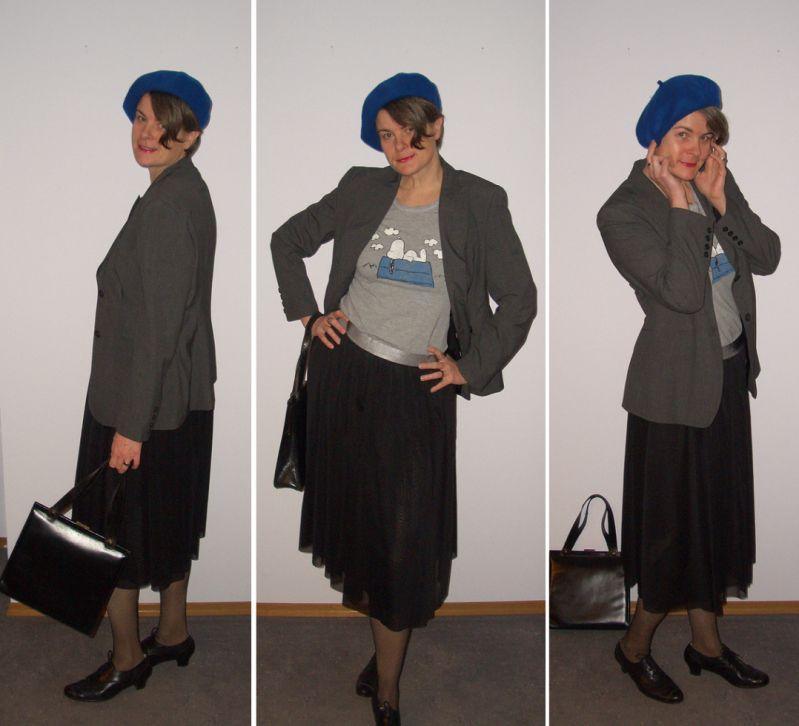 Tüllrock mit Blazer und Baskenmütze retro kombiniert