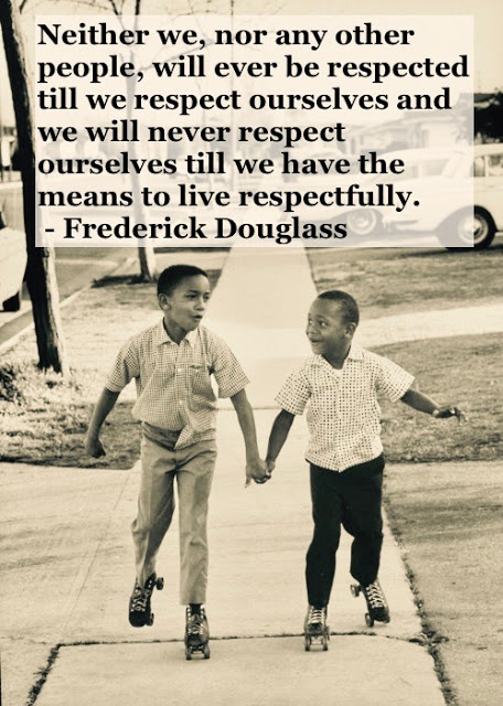 Photo of young black brothers roller skating and holding hands. c 1950s Living with respect quote by Fredrick Douglass. Other stories of Racism and Civil Rights. Mr. Douglass has more to say. marchmatron.com