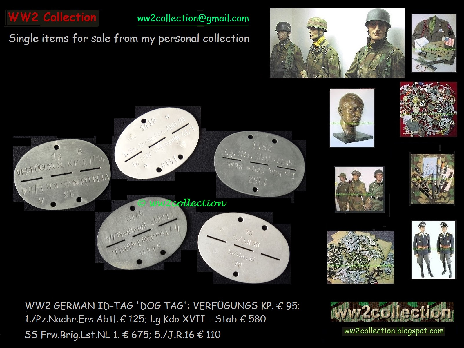 WW2 Collection Price List Of My Private Collection