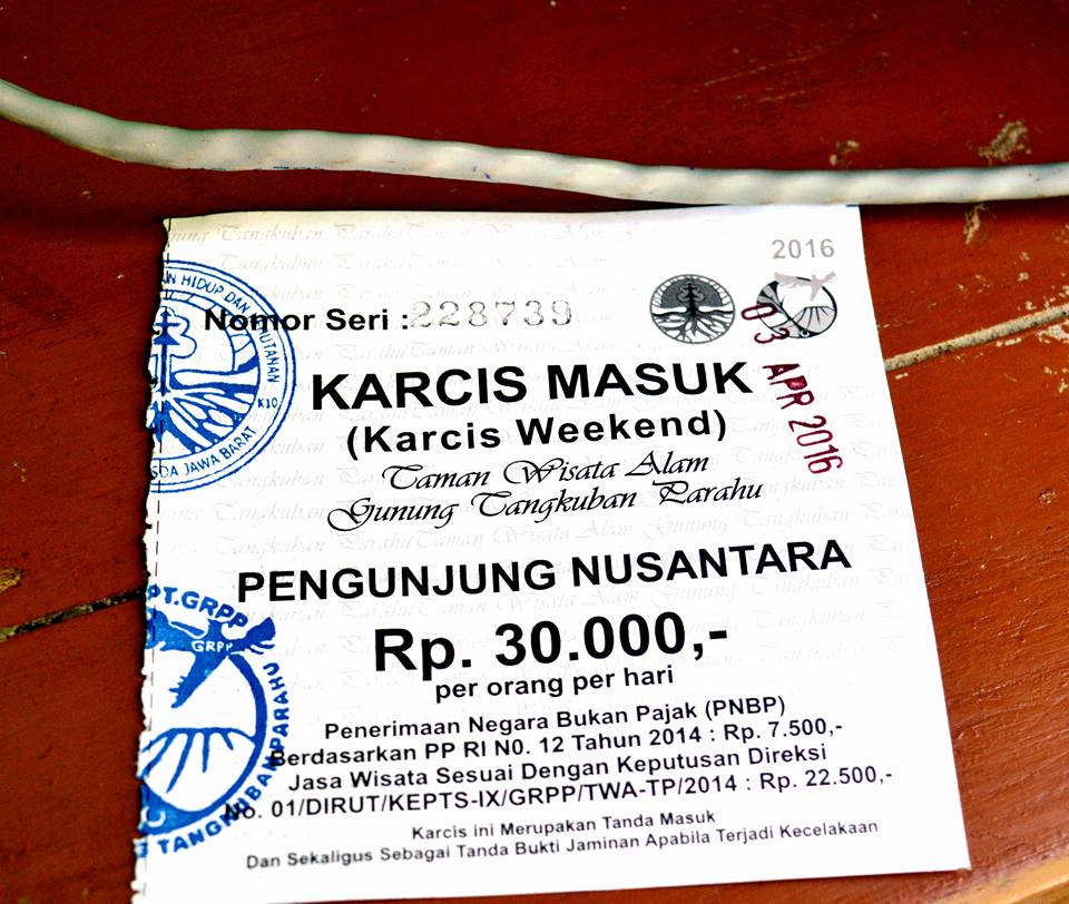 Karcis atau tiket masuk wisata tangkuban perahu