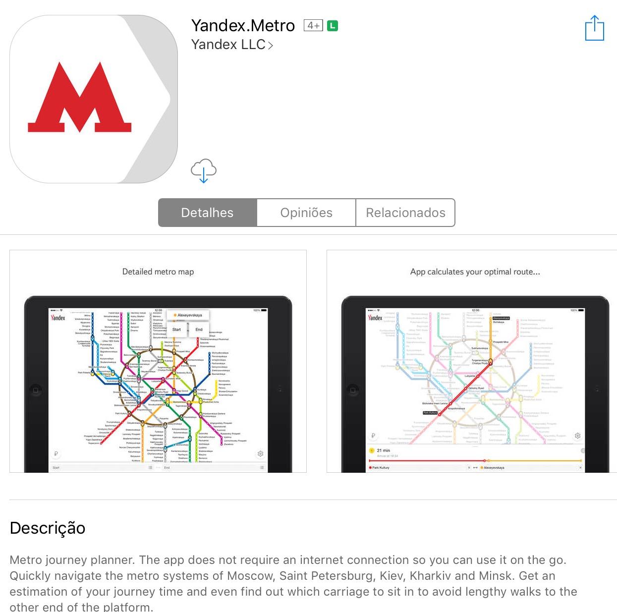 yandex metro moscou app