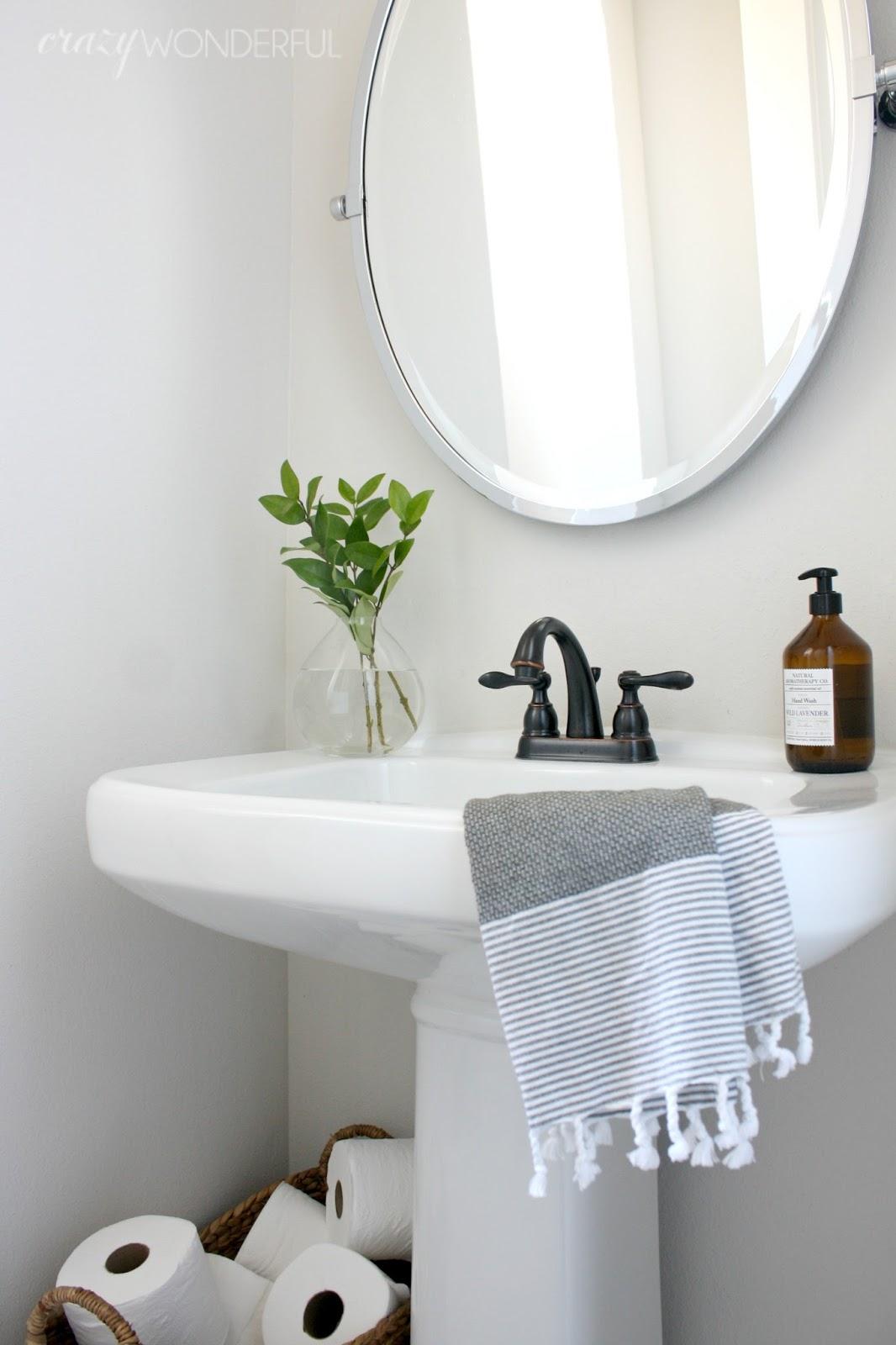 how to fix a boring builder grade bathroom - Crazy Wonderful