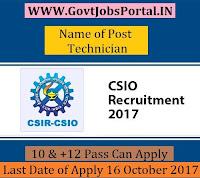 Central Scientific Instruments Organization Recruitment 2017- 31 Technician