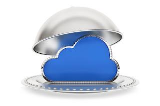 Restaurant cloche with cloud computing symbol
