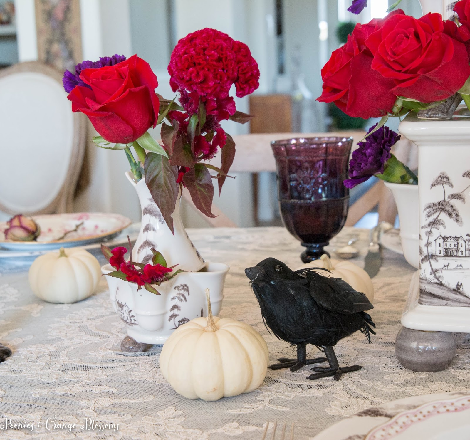 Pumpkin and Crows elegant Halloween table and creepy flowers