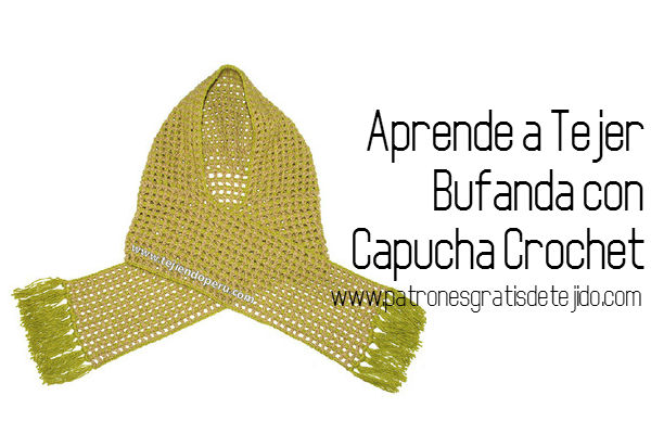 Clase gratis de tejido crochet Bufanda con capucha