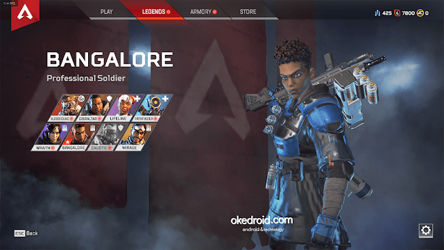 design menu user interface 8 karakter hero unik kill game apex legends pc