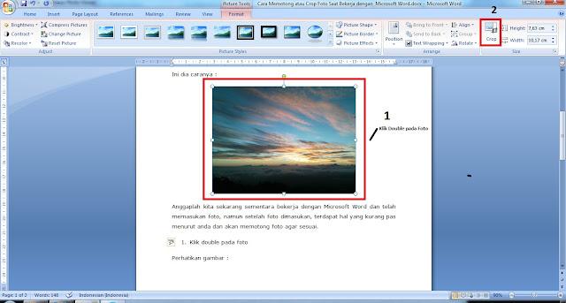 Crop Foto Saat Bekerja dengan  Microsoft Office Word