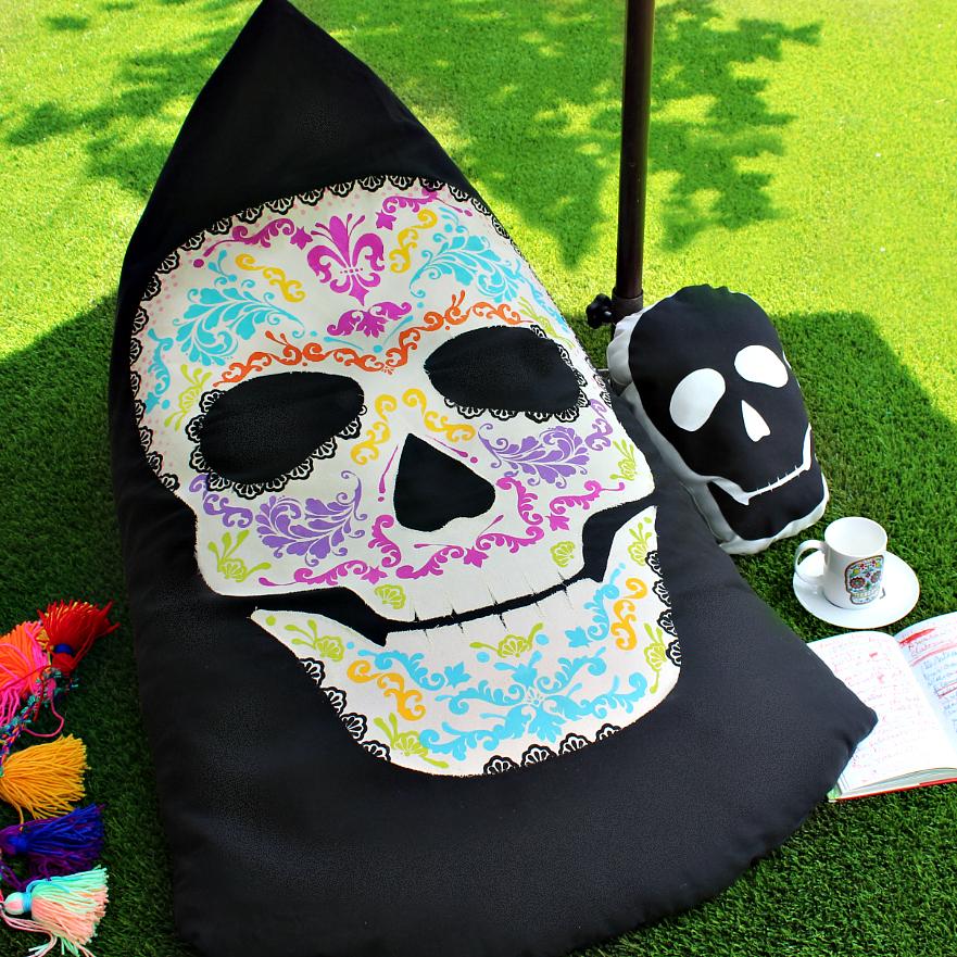 Mark Montano Sugar Skull Beanbag Chair And Skull Pillow