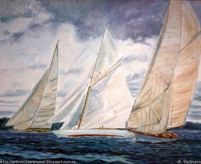 Pintura al óleo veleros Copa America