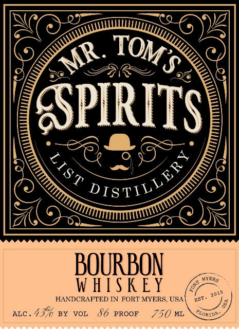 List Distillery Mr. Tom's Spirits Bourbon Whiskey