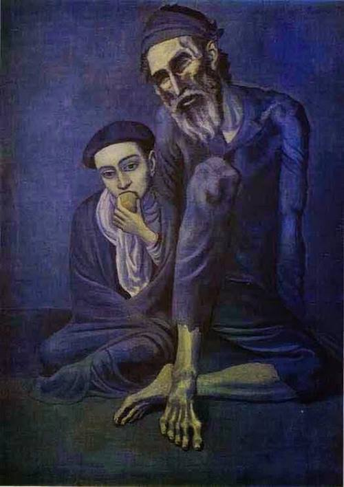 Velho mendigo com um menino por Pablo Picasso. #PraCegoVer
