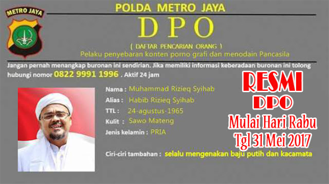 Akhirnya Rizieg Shihab Masuk Daftar Buronan Polisi Atau DPO