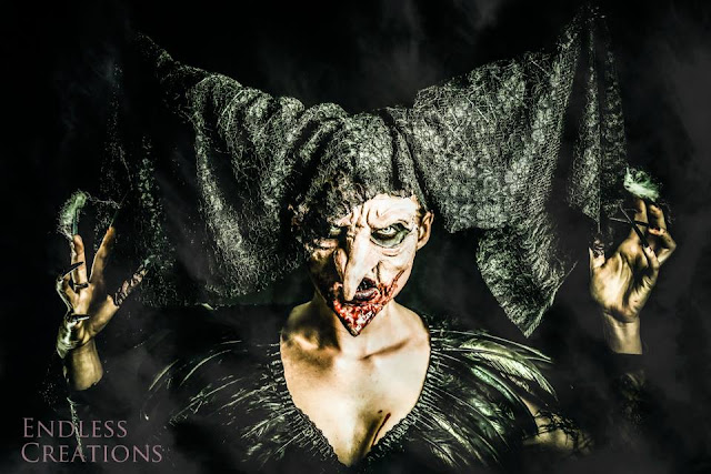 mystic magic, halloween, wicked witch, evil witch, scary, horror, photogrpahy, monster, creative, inspiration, old lady, lace, feathers, black