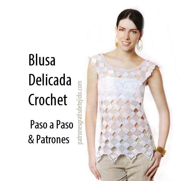 Blusa delicada crochet   patrones y paso a paso  ba46584981b