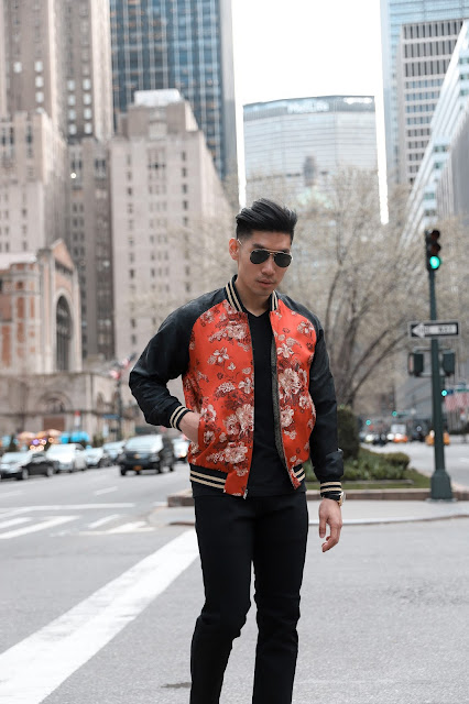 Wearing a Floral Embroidered Bomber Jacket | Levitate Style