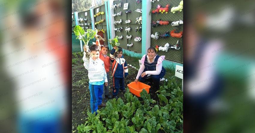 Huerto escolar, reciclaje y alimentación nutritiva promueve Qali Warma en Otuzco - www.qaliwarma.gob.pe