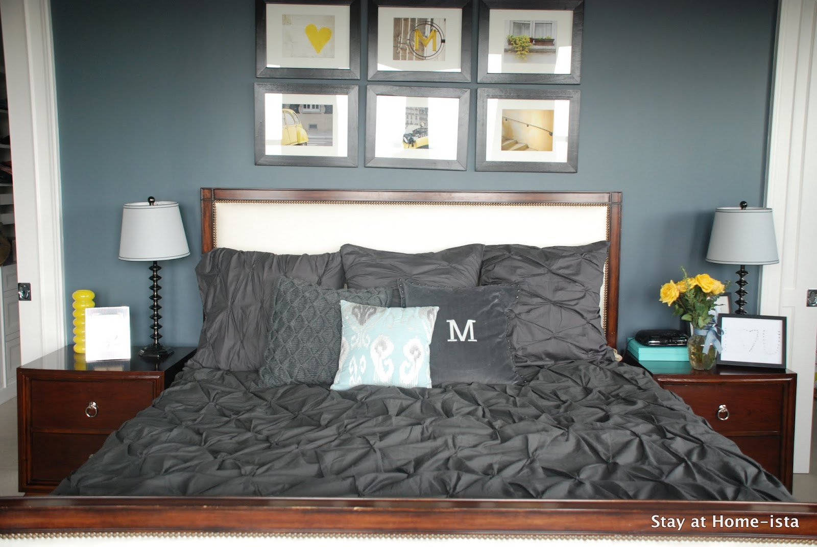 Charcoal Grey Bedding Stay At Home Ista Grey And Yellow Master Bedroom Updates