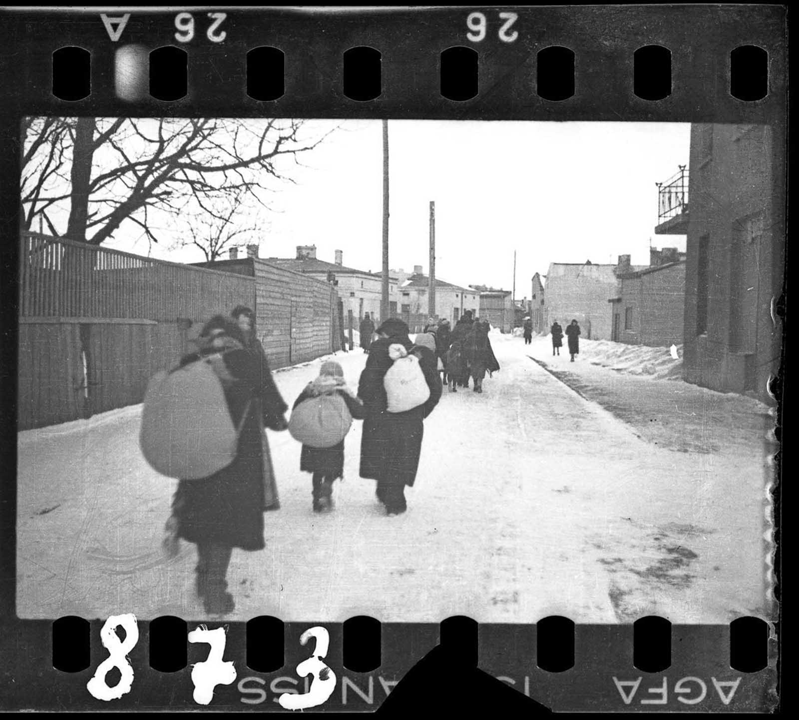Deportation in winter.