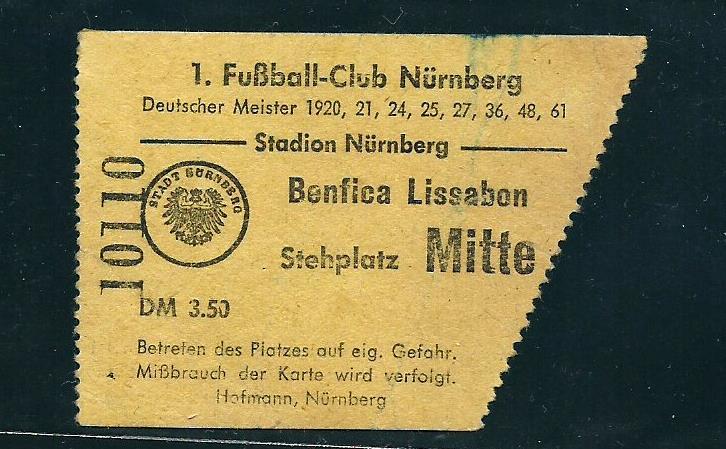 Bilhetes | Nuremberga - Benfica 1962