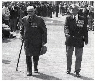 Gallipoli veterans Bob Spencer (Lancashire Fusiliers) and Benny Adams  (Manchester Regiment) march on the 75th anniversary of Gallipoli, April 1990.