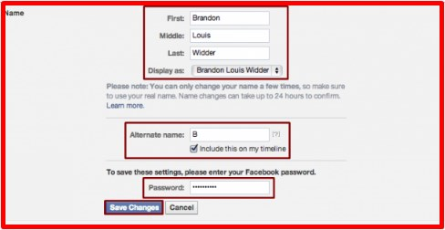 how to change name in facebook