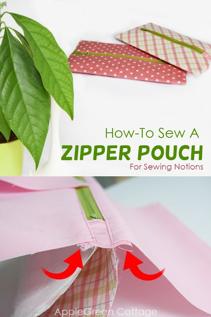Learn how to sew a lined zipper pouch with centered zipper, using French seams. A perfect zipper pouch  to store your sewing notions like sewing needles, wonder clips, rotary cutter, you name it!