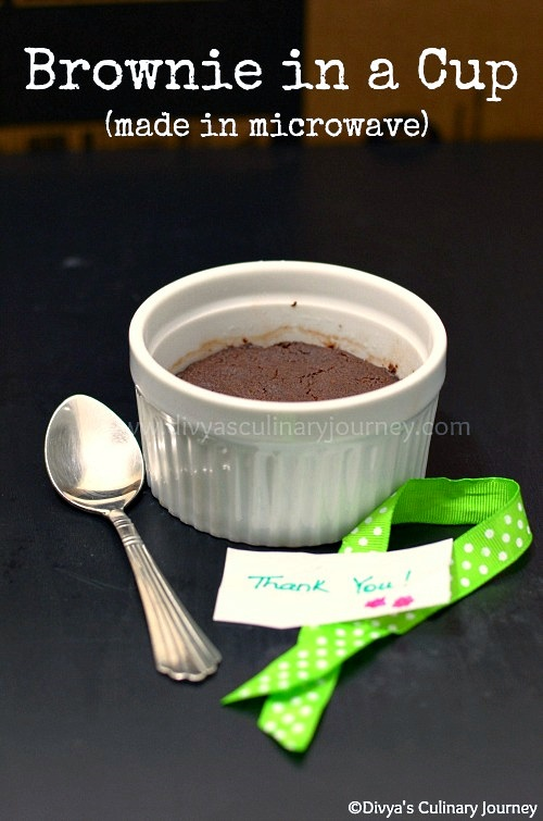 Brownie made in a cup in a microwave