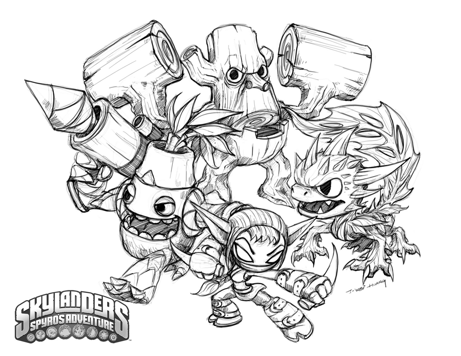 skylanders giants coloring pages | CrabFu Blog: Skylanders Speed Drawing & Coloring Pages