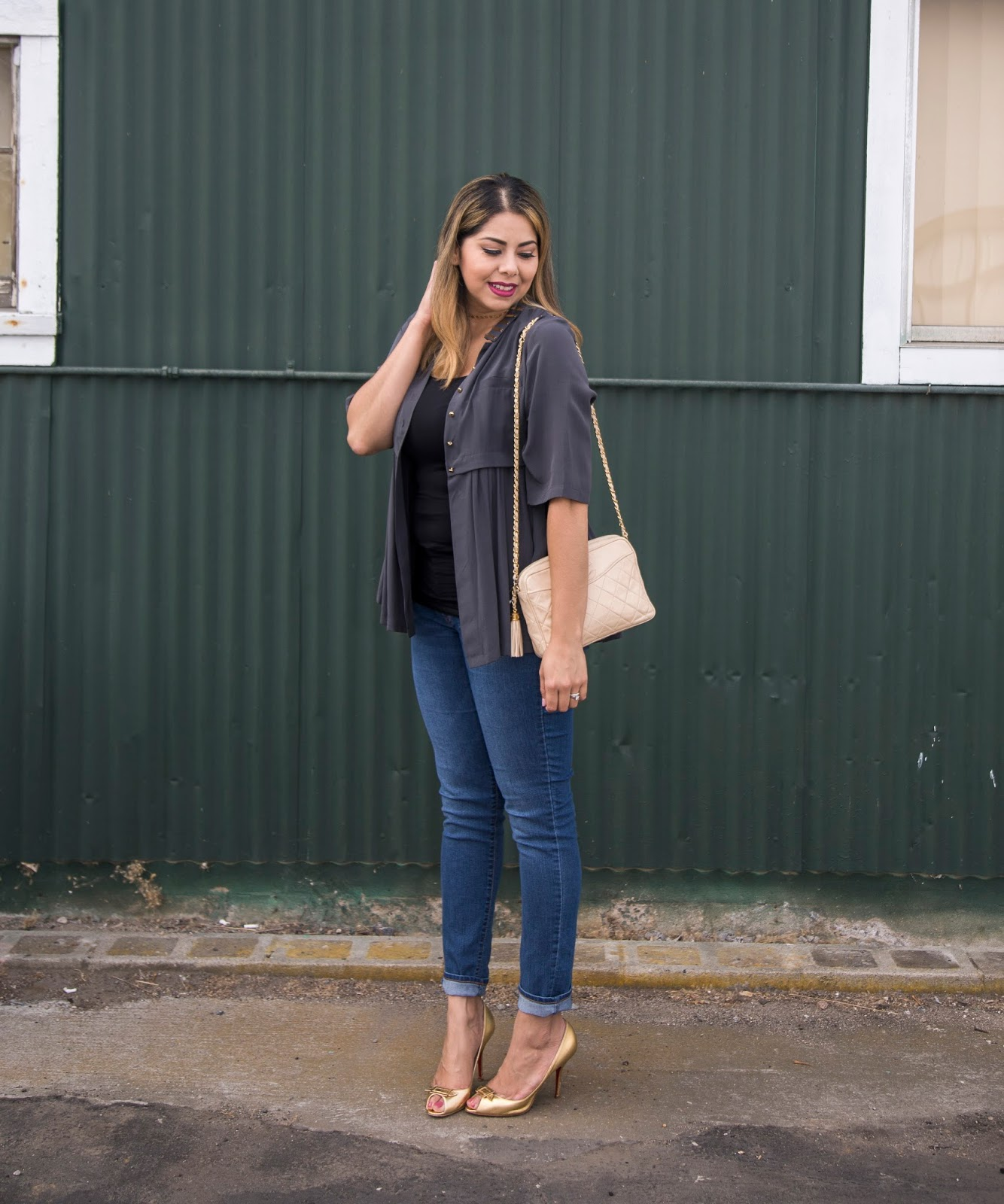 gold christian louboutin heels, san diego fashion blogger, san diego consigment store, casual yet stylish outfit, skinny jean outfit