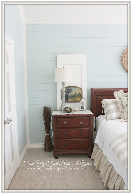 French Farmhouse Master Bedroom-Buffalo Check-Toile-Vintage- From My Front Porch To Yours