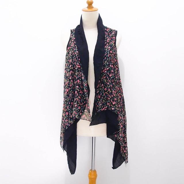 Cardigan Layer Tanpa Lengan Floral Vintage Black Import Murah Diskon