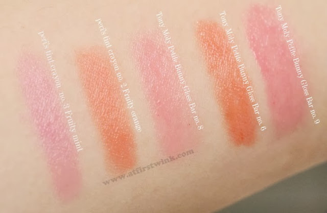 Peripera peri's tint lip crayons compared to the Tony Moly Petite bunny gloss bars