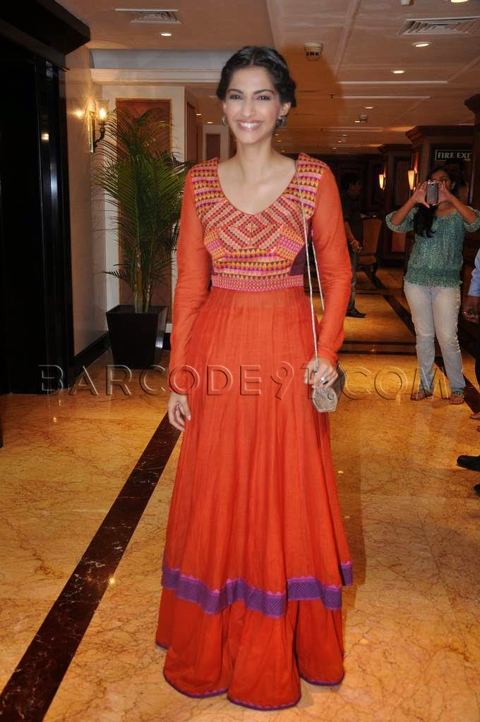 Sonam Kapoor in a orange anarkali lengha kurti for the promorion of BMB at Taj Lands End.