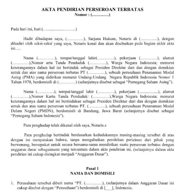 Contoh Surat Resmi Akta Pendirian Perseroan Terbatas (PT) Format Word
