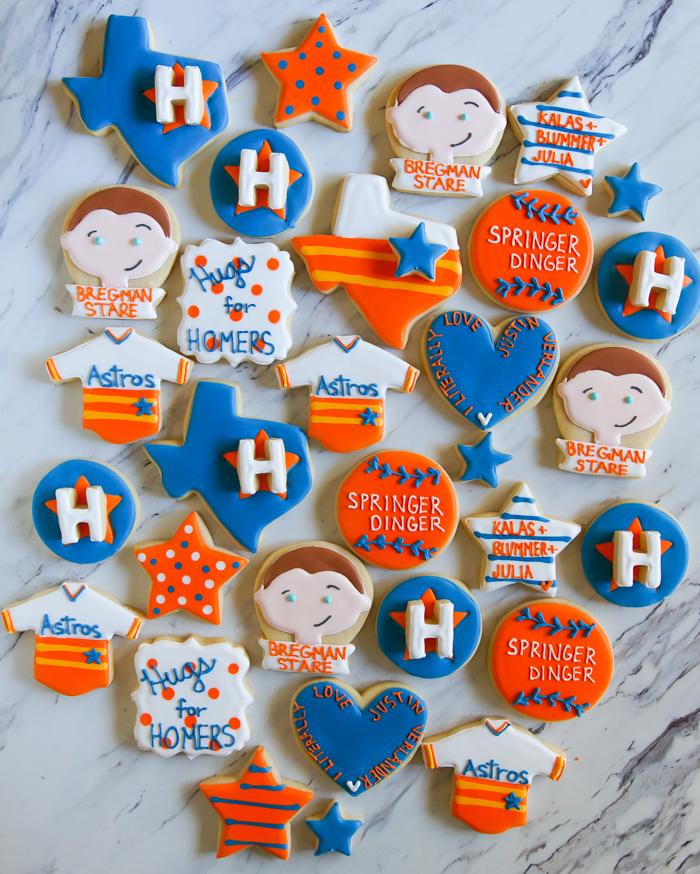 Houston Astros Decorated Cookies: Bregman Stare, Hugs for Homers, I Literally Love Justin Verlander, Springer Dinger, Astros Rainbow Jersey