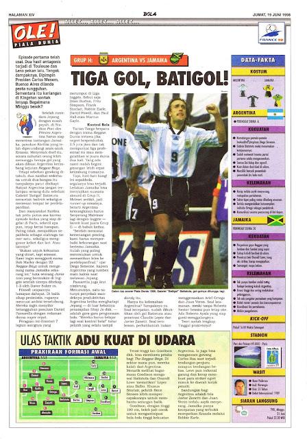 BATIGOL BATISTUTA ARGENTINA VS JAMAICA WORLD CUP 1998