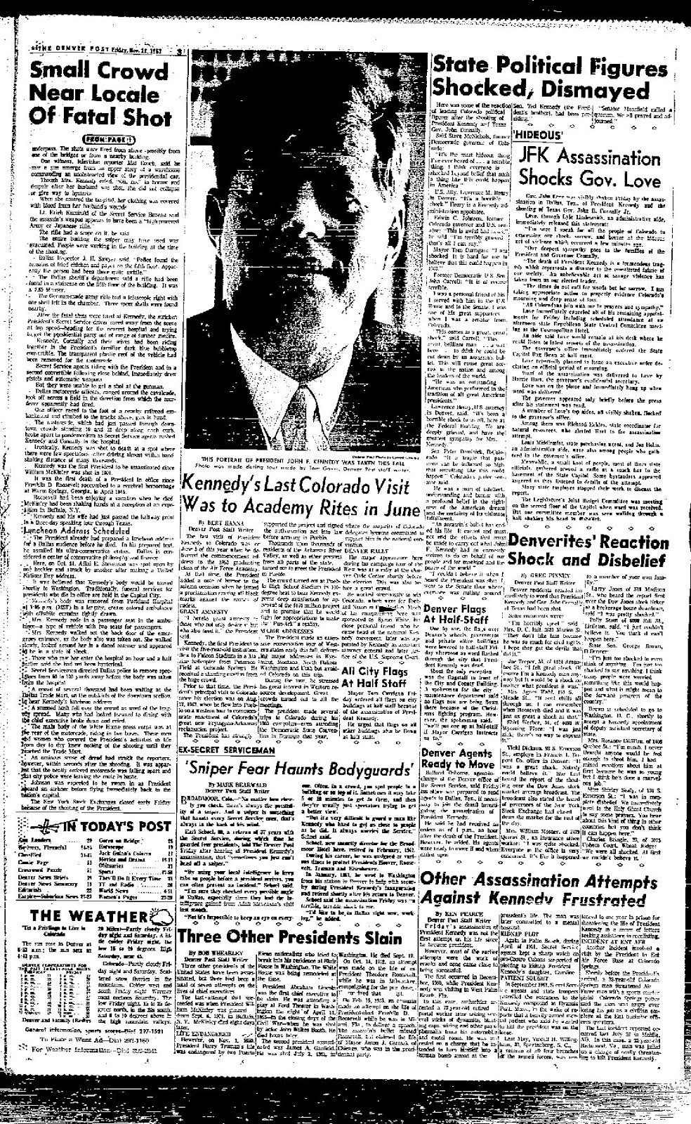 The third page of the Denver Post's day-of coverage of JFK's assassination