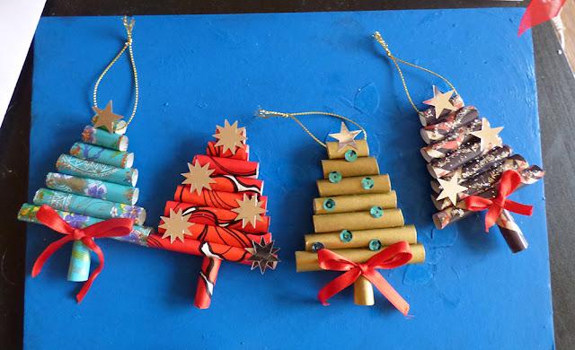 Decoratiuni de Craciun handmade din hartie: ornamente braduti