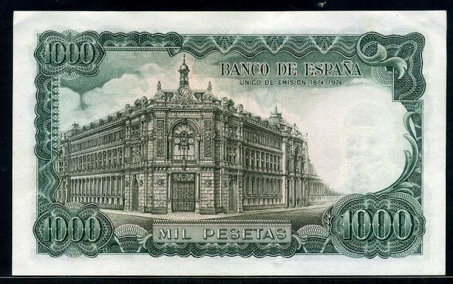 1000 Pesetas banknote Bank of Spain