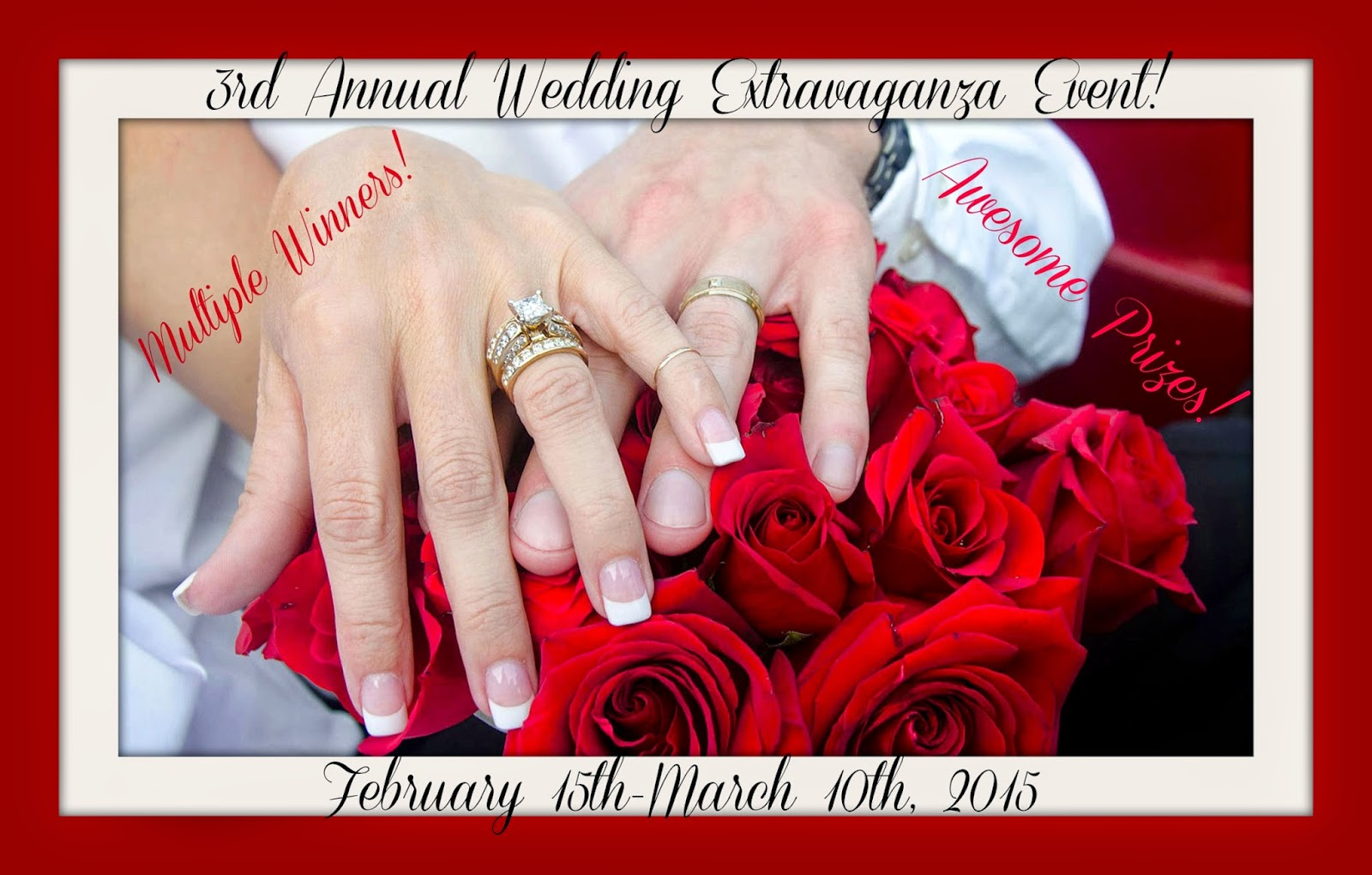 Enter the 3rd Annual Wedding Extravaganza Giveaway Event. Ends 3/10.