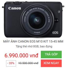 Nguyễn Kim khuyến mãi máy ảnh Canon EOS M10 KIT 15-45MM - giảm 33% - Máy ảnh DSLR Canon tốt nhất giá rẻ
