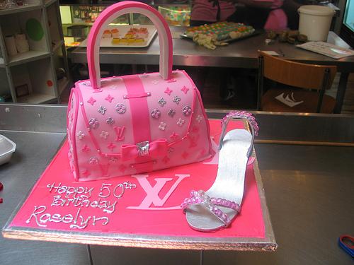 Cake Place Louis Vuitton Pink And Silver Handbag Cake