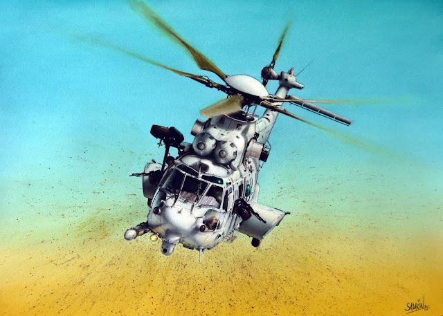 EC725, Caracal, Armée de l'Air, Aquarelle, Hélicoptères