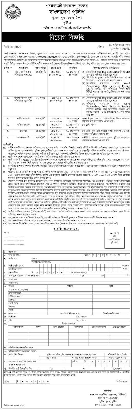 Bangladesh Kushtia Police Assistant Nursing Govt Job Circular 2018
