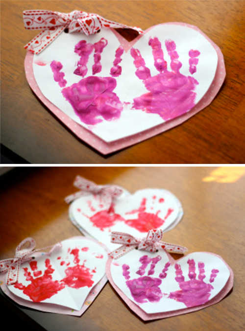 Valentines Day Crafts 2 Part - 26: Toddler Handprint Valentines Day Project - Taylor Joelle
