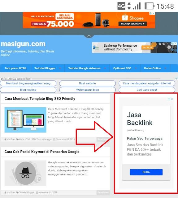 Cara Pasang Iklan di Samping Postingan Blog