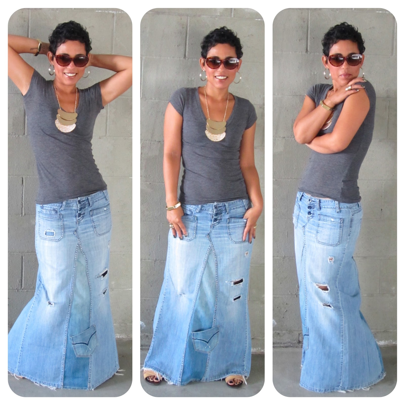 DIY TUTORIAL!!! Reconstructed Jeans to Fabulous Maxi ...