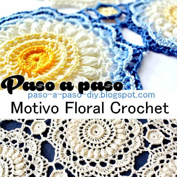 motivo crochet con forma de flor para confeccionar manta o mantel