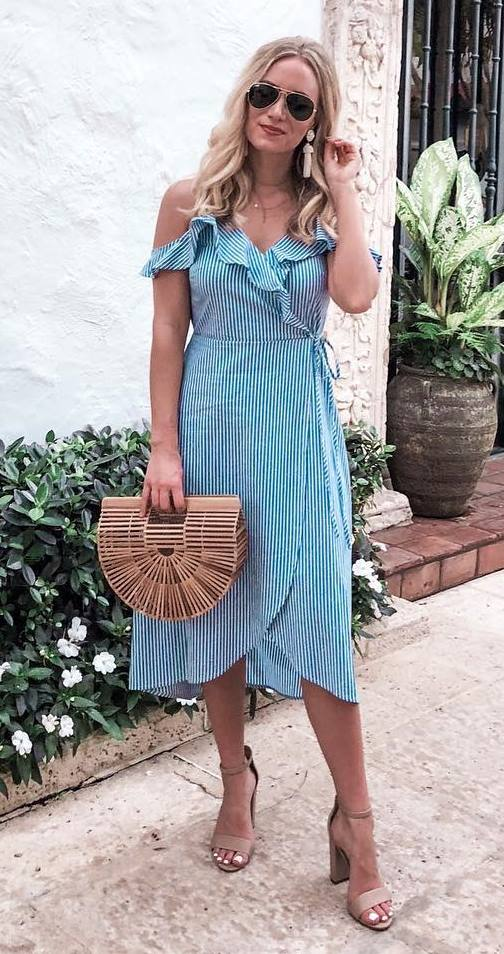 trendy summer outfit / bag + beige heels + striped dress